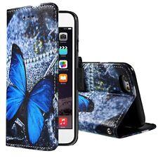 Etui type portefeuille Papillon bleu pour iPhone 6 rabat latéral articulé fo