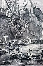 Quarantine on Boat 1873 MEDICAL DOCTORS DISEASE Matted Antique Engraving Print