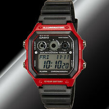 Casio AE-1300WH-4AV Red Digital Watch 5 Alarms 10 Year Battery 9 Timers New