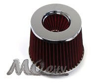 "2.5"" 63mm Flange x 6"" Height Round Chrome Top Cone Dry Air Intake Filter RED"