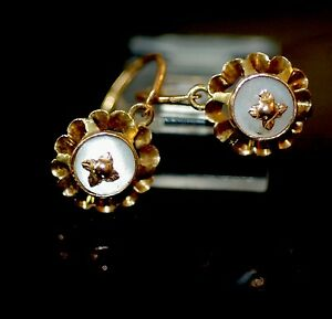 Original Victorian Buttercup Setting Gypsy Style Floral Motif Day Earrings 15k