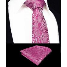 hommes rose fuschia Cravate Mariage SOLDE Floral Motif Cachemire soie GRATUIT