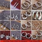 Womens 925 Sterling Silver Plated Crystal Pearl Hoop/Drop Ear Stud  Earrings