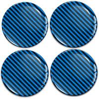 4 x 60mm 3D Silicone Stickers Car Rims Wheel Hub Center Caps Carbon Blue Emblem