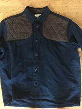 L.L. Bean Heavy Duty Chamois Cloth Shirt Large Lng Sleeve Navy Brown Quilt Chest