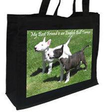 English Bull Terrier Cotton Shopping Bag, Choice of Colours, Black, Cream,