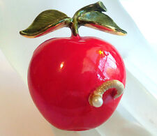 VINTAGE ORIGINAL BY ROBERT WORM IN APPLE BROOCH/PIN ESTATE JEWELRY PERFECT