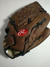 "New listing RAWLINGS Leather 12.5"" RHT Baseball Mitt Glove BASKET-WEB RBG125CP BLACK & BROWN"
