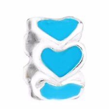 2PC Heart Ring Blue Enamel Silver Plated Spacer Charm for European Bead Bracelet