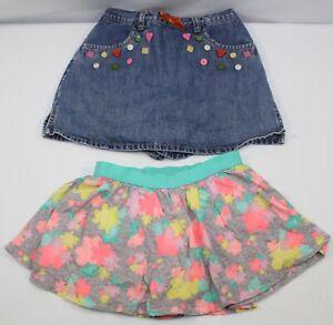Youth Girls Size 6 Lot of 2 Skorts Embellished Denim Jean Skirt & Floral Skirt