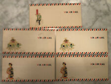 Lot of 5 vintage Via Air Mail envelopes mailers un-used Chinese/China