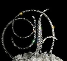 "Handmade Swarovski Clear Crystals 6"" Wedding Cake Topper Monogram Letter ""D"""