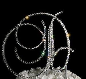 "Handmade Clear Crystals 6"" Wedding Cake Topper Monogram Letter ""D"""