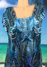 One World Plux Sz 2X Top Tunic Boho Blue Silky Career Casual Sequin Purple 8109