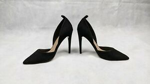 Asos Black D'orsay Faux Suede Stiletto Heels With Strap Loops - Size UK 5.5