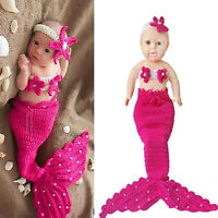 Infant Baby Girls Newborn Mermaid Crochet Outfit Dress PhotoProp Hat Costume bes