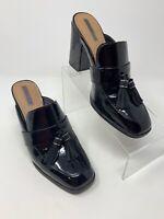 Tahari ZALLA Women 8M Black Patent Leather Tassel Slip On Block Heel Dress Shoes