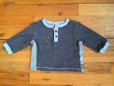 Splendid Littles Baby Cotton Blend Gray Blue Baseball T-shirt Sz 3-6m PERFECT