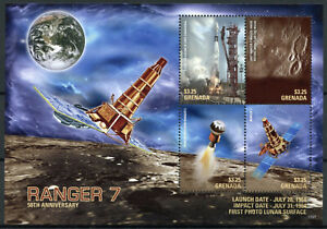 Grenada Space Stamps 2017 MNH Ranger 7 Photo Lunar Surface 50th Anniv 4v M/S II