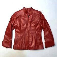 Women's Red Leather Jacket size: S Small Genuine Leather Coat Made in Argentina