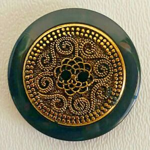 Vintage Geometric Black and Gold 2 holes Sewing Arts & Craft Buttons 1.33inches