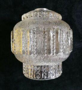 Vintage MID CENTURY Sputnik SPACE AGE Clear Textured GLASS 60s Sklo LIGHT SHADE