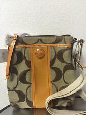 Coach Signature Handbag Stripe  Swingpack Khaki Orange Spice F48806 Crossbody