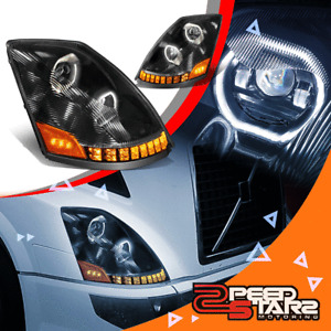 LED Halo Sequential Signal Projector Headlights for 04-18 Volvo VN VNL 400 630