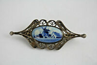 Exclusive 1930 Delft blue white pottery Brooch jewelry marked DELFT