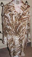 Elegant Chico's 3 Large Contemporary Leopard Geena Cowl Animal Tunic 3/4 Sleeve