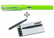 Lamy Safari Fountain Pen - Apple Green - Medium Point with 1 Pack of Black Ink R