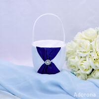 GB26d New White Royal Blue Flower Girl Basket Satin Wedding Ceremony