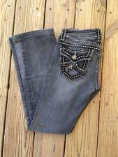 Miss Me DISTRESSED BOOT CUT Thick Stitched Dark Wash Jeans * IRENE sz 26