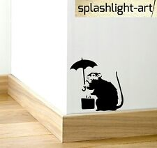 Banksy (S) Rat & Umbrella Skirting Board Vinyl wall Dical sticker black funny
