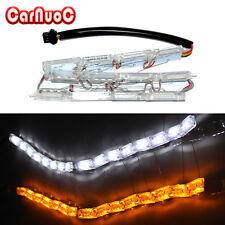 2PCS Auto Flexible White Amber LED Strip Headlight Dual Color DRL Signal Light