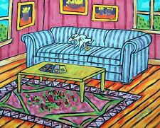 jack russell terrier pee on couch living room dog art print 13x19 giclee gift