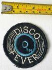 VINTAGE authentic patch DISCO FEVER glitter thread LP 45 RPM music Black Vinyl