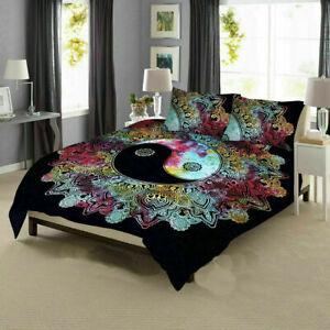 Indian Mandala Omber Multi Quilt Duvet Cover Blanket Queen Size Doona Cover Set
