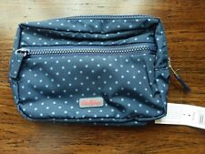 Cath Kidston Reversible Cosmetic Bag Floral Periwinkle / Blue Dots
