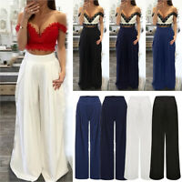 Women Slim Fit Palazzo Pants Long Loose High Waisted Wide Leg Trousers Plus Size