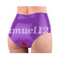 100% Latex Women Sexy Underwear Briefs Shorts With Double Hole 0.4mm S-XXL