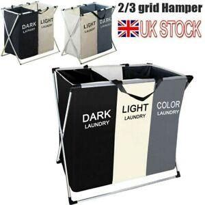 2/3 Section Laundry Bag Basket Dark/Light Color Clothes Storage Wash Hamper Bin