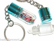 1pc perfume vial Glass pendant tube bottle SCREW CAP Keychain pill key ring AQUA