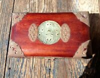 VINTAGE CHINESE TRINKET BOX, WOOD WITH BRASS HARDWARE AND JADE INSERT