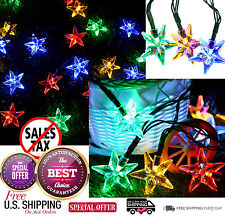 Outdoor Solar Powered Star String Lights 30 LED Fairy Bubble Garden Party Decor