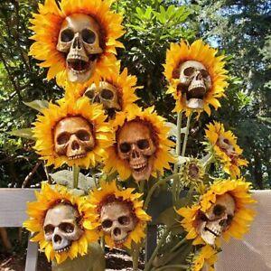3 Style Scary Skull Sunflower Flower Skull Festival Art Craft Garden Decorations