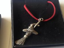 "Witches Broom code dr68 Made From English Pewter On a 18"" Red Cord Necklace"