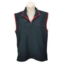 POLO Ralph Lauren Women's XL Full Zip Vest Black & Red Fleece Athletic Jacket