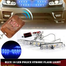 Blue Car 16 LED Police Strobe Flash ash Emergency Warning Light With Control box