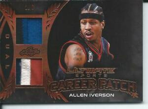2019 Leaf Ultimate Sports Card ALLEN IVERSON 2/6 Career Dual Patch #CP-01